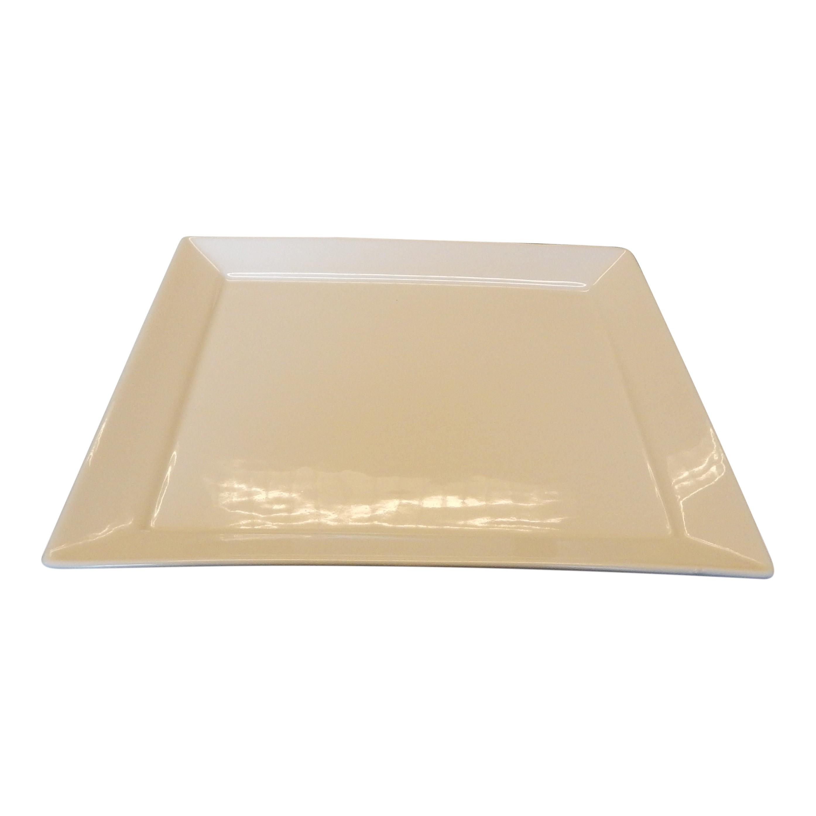 Bord 23cm vierkant ivoor