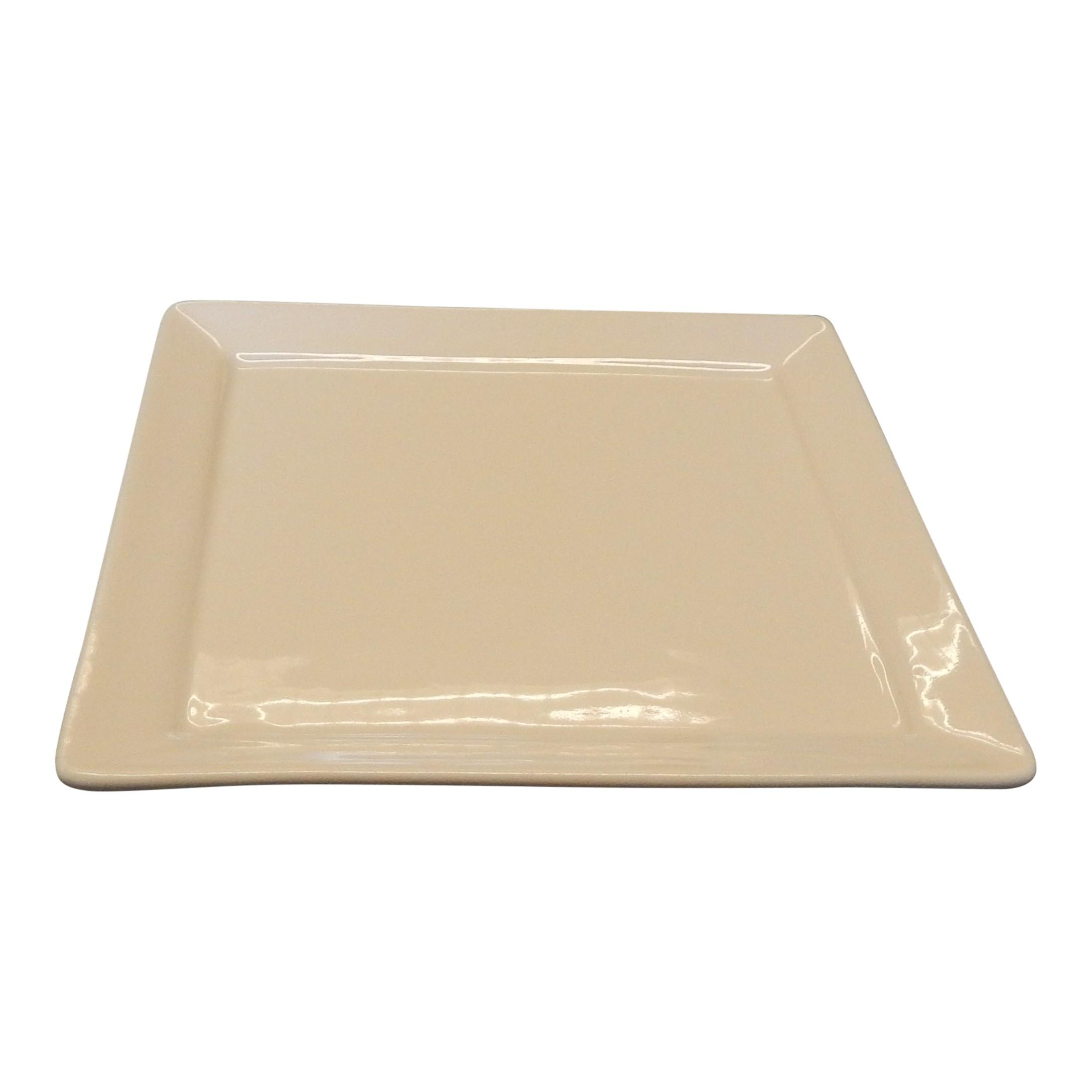 Bord 26cm vierkant ivoor