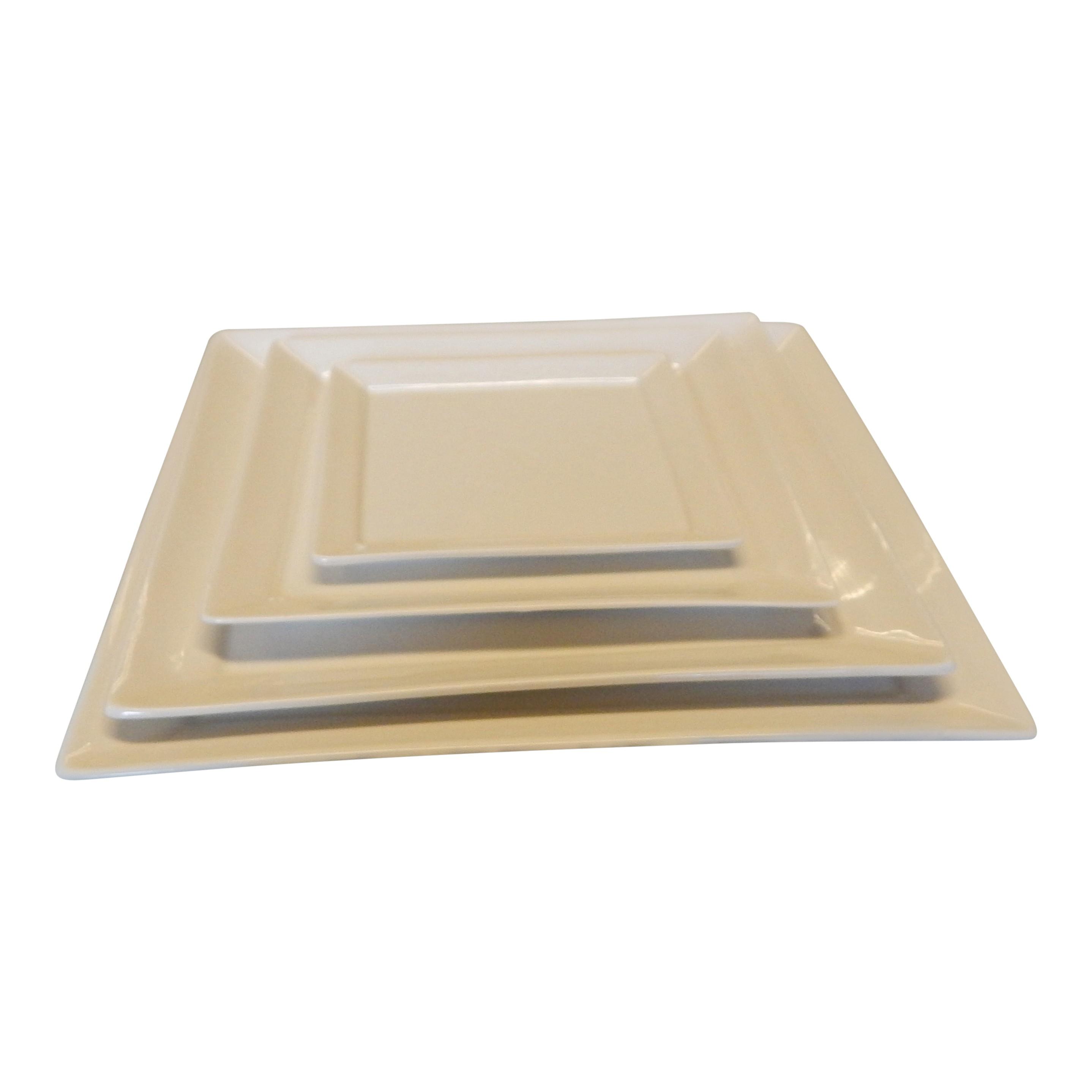 Bord 18,5 cm vierkant ivoor