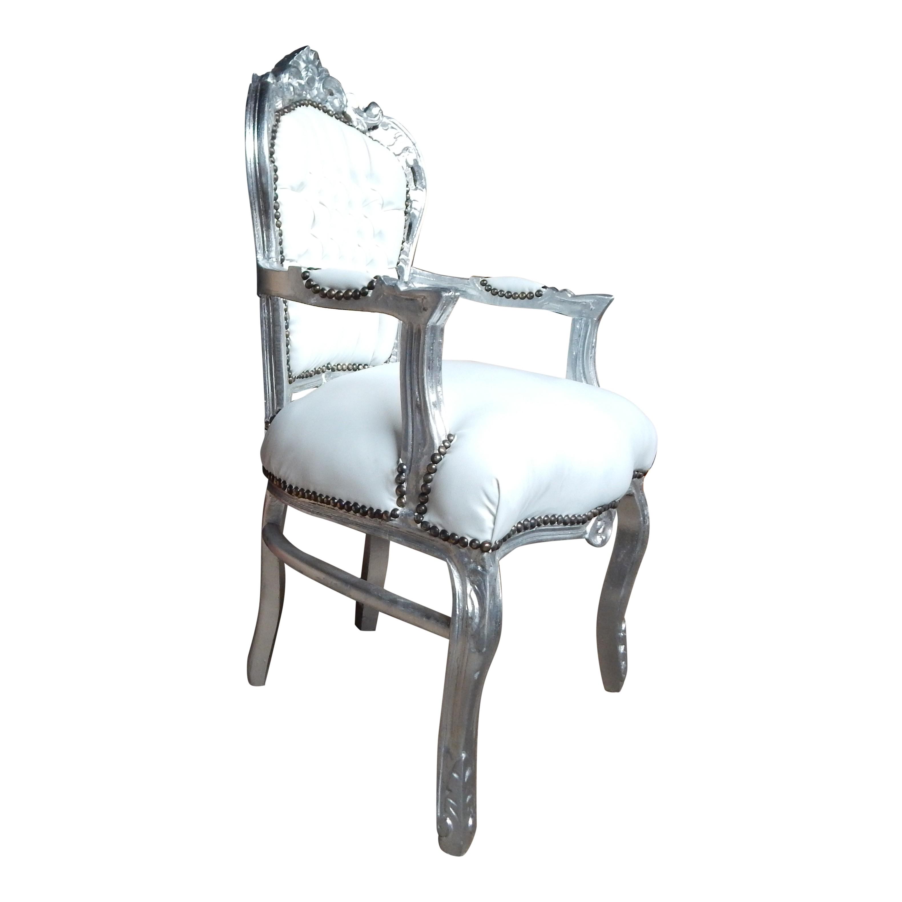 Barok stoel zilver met wit skai