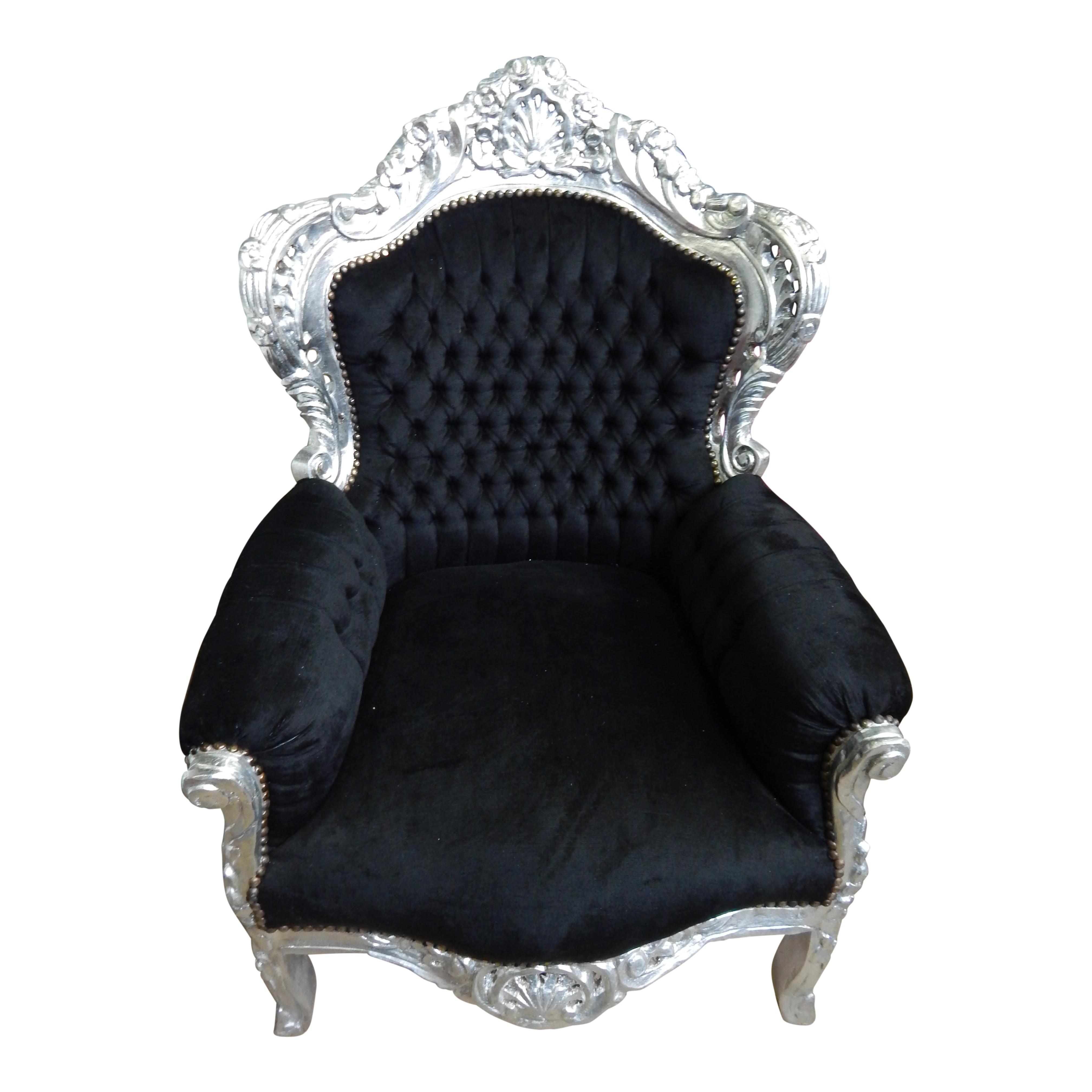 Barok fauteuil zilver-zwart